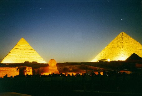 Guardian's Egypt - Hale Bopp Comet over the Pyramids at Giza - Copyright (c) 1997 - Andrew Bayuk, All Rights Reserved